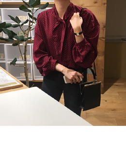 lovely dot tie blouse (2color)