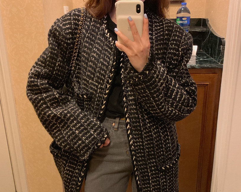 Cio tweed half coat (3color)
