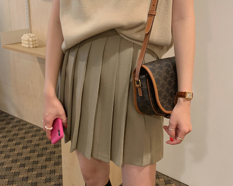 Pleats skirt (beige)