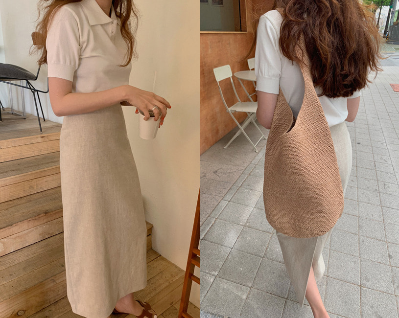 [minuet] Scoop skirt (beige)