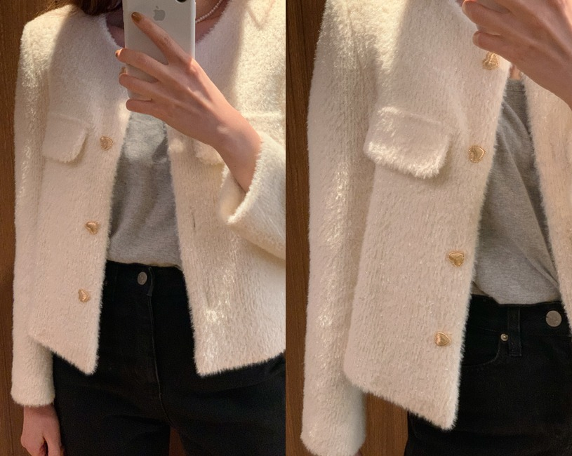 Love tweed jacket (pure ivory)