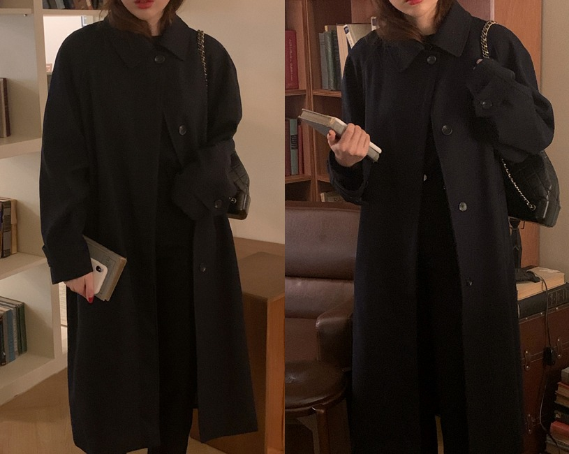 Sweep trench coat (네이비)