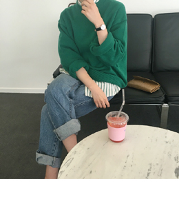 loose volume round knit (green)