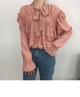 lovely ribbon-tie shirring blouse (pink)