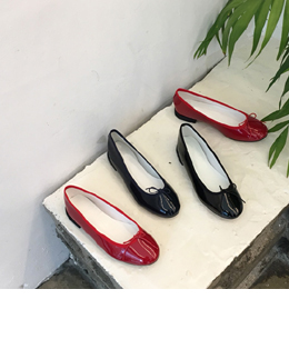 enamel ribbon flat shoes (3color)