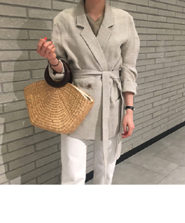 THE OPEN LINEN STRAP JACKET (BEIGE)
