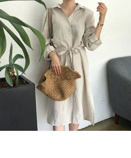 [단독] linen long shirts ops (beige)