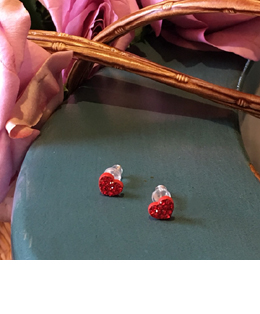 red cubic earrings