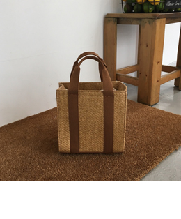 handle square straw bag