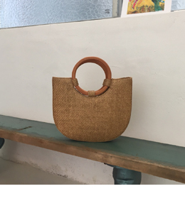 WOOD RING HANDLE MIDDLE BAG (2COLOR)