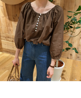 FRENCH SHIRRING COTTON BLOUSE (3COLOR)