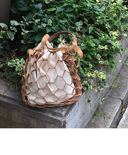 LEATHER NET BAG (2COLOR)