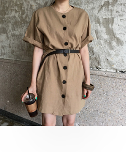 LINEN MINI DRESS (2COLOR)