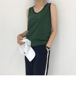 SPORTY LINE SLEEVELESS (4COLOR)