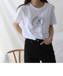 TANYA DRAWING TEE (4COLOR)