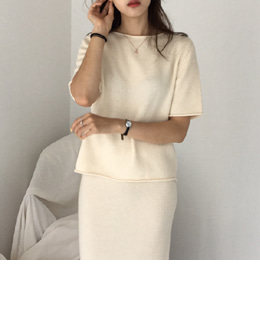 LIP SHORT-SLEEVE KNIT (5COLOR)