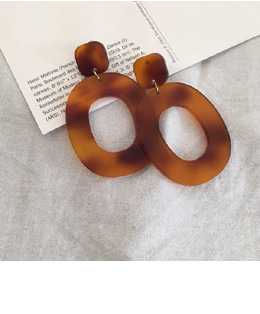 object marbling earring (brown)
