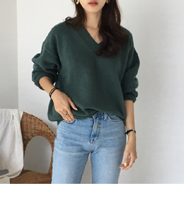 QUALITY WOOL V-NECK KNIT (5COLOR)