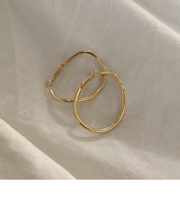 curve circle earrings(2color)