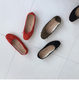 suede ribbon flat (4color)