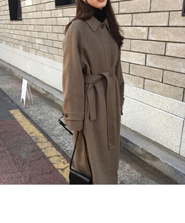 HIDDEN SINGLE HANDMADE COAT (KHAKI BROWN)