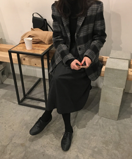 CLAIR CHECK WOOL COAT-JACKET (2COLOR)