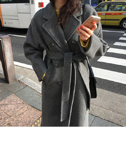 STITCH WOOL DOUBLE COAT (GRAY)
