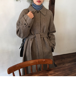 HERRINGBONE HIDDEN SINGLE HANDMADE COAT (2COLOR)