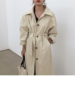 leather trench (cream)