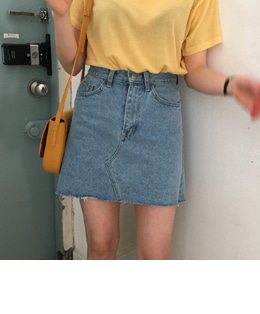vintage denim skirt (2color)