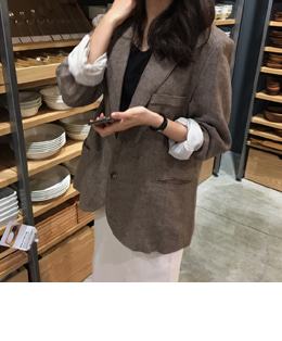 inno linen jacket (mood brown)