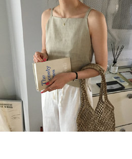 two strap linen top (beige)