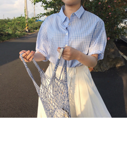 ally blouse (check pastel blue)