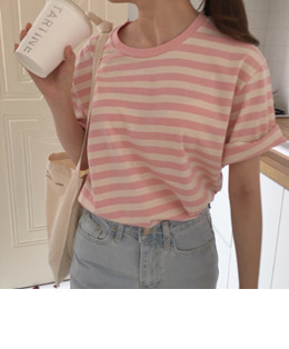 Mari stripe tee (powder pink)
