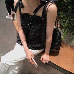 Lovely dot top (black)