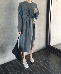 waist belt knit one piece (gray)