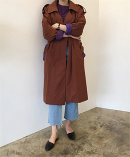 [sale] mix color trench coat (red brown)