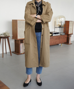 [sale] single washing trench coat (2color)