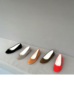 suede ribbon flat (5color)