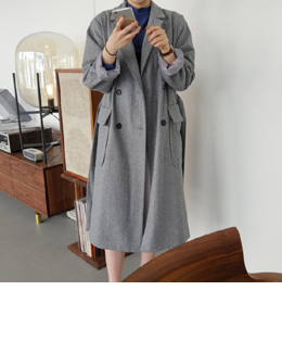 [sale] double belt coat (gray)