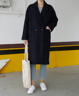 [sale] minimal two-button wool coat (2color)