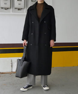[sale] over wool double long coat (black)