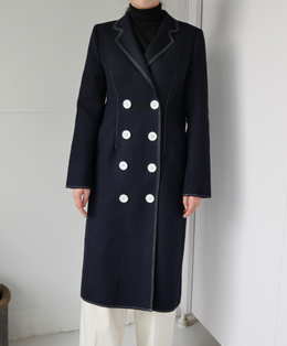 [sale] stitch double button coat (navy)