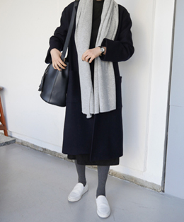 [sale] cozy long single coat (navy)