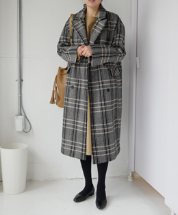 french double-breast check coat (gray check)