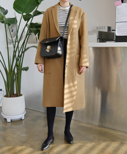 [sale] cozy long single coat (beige)