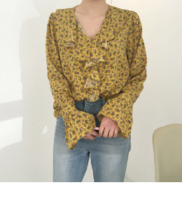 front frill flower blouses (2color)